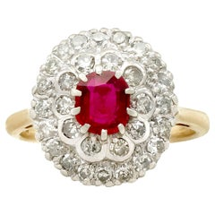 Certified Burmese Ruby and Diamond Yellow Gold Cluster Ring