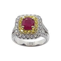 Certified Burmese Ruby, Diamond and Yellow Diamond Ring in 18 Karat White Gold