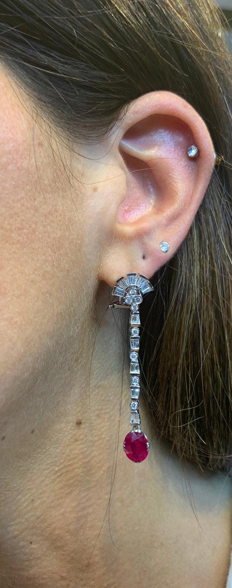 Oval Cut Certified Burmese Ruby & Diamond Dangle Earrings For Sale