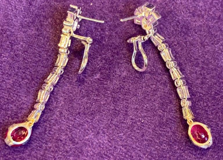Certified Burmese Ruby & Diamond Dangle Earrings For Sale 1