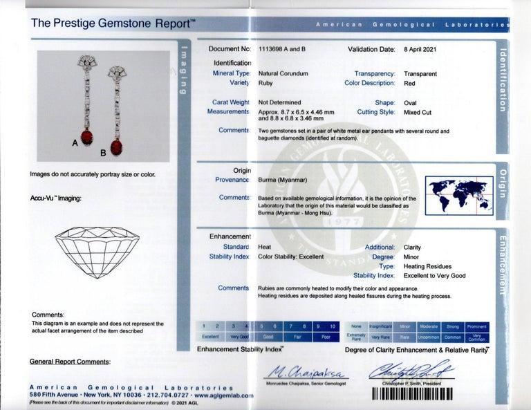 Certified Burmese Ruby & Diamond Dangle Earrings For Sale 2