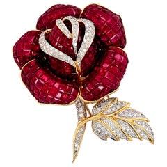 Certified Burmese Ruby Diamond Vintage Flower Brooch