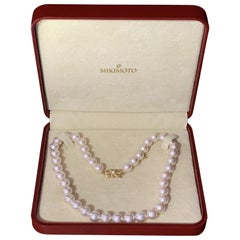 Certified by Mikimoto 18 Karat Gold Pearl Necklace