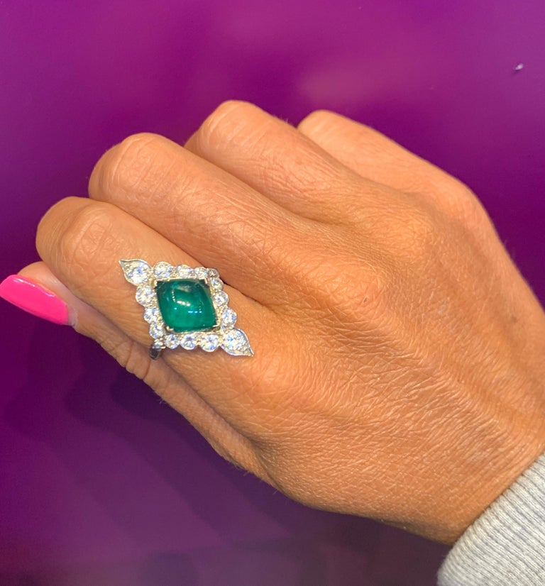 Certified Cabochon Colombian Emerald & Diamond Ring For Sale 6