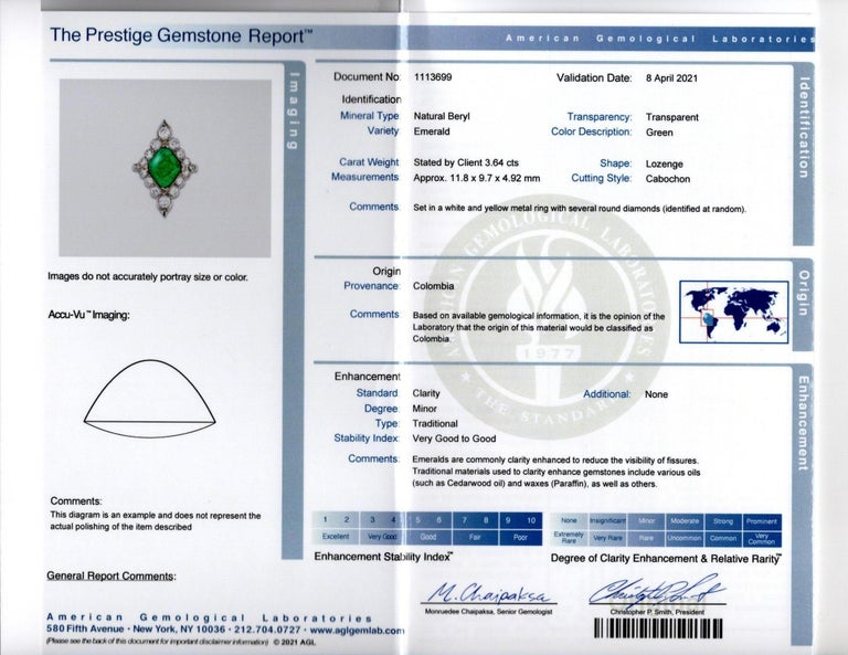 Certified Cabochon Colombian Emerald & Diamond Ring For Sale 7