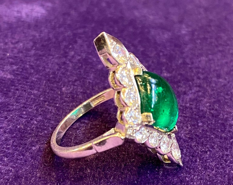 Certified Cabochon Colombian Emerald & Diamond Ring For Sale 3