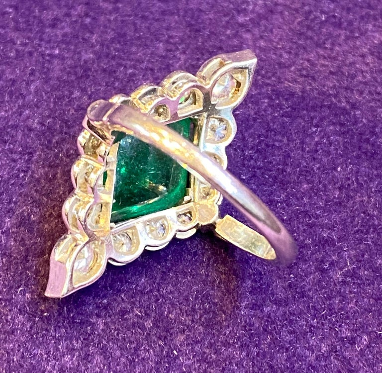 Certified Cabochon Colombian Emerald & Diamond Ring For Sale 4