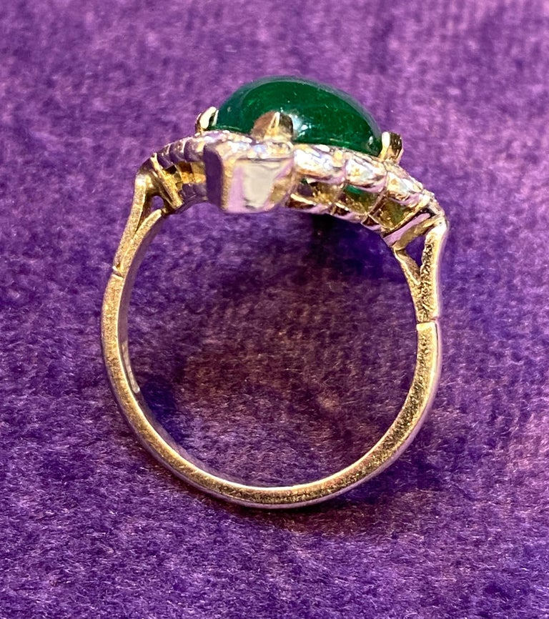 Certified Cabochon Colombian Emerald & Diamond Ring For Sale 5