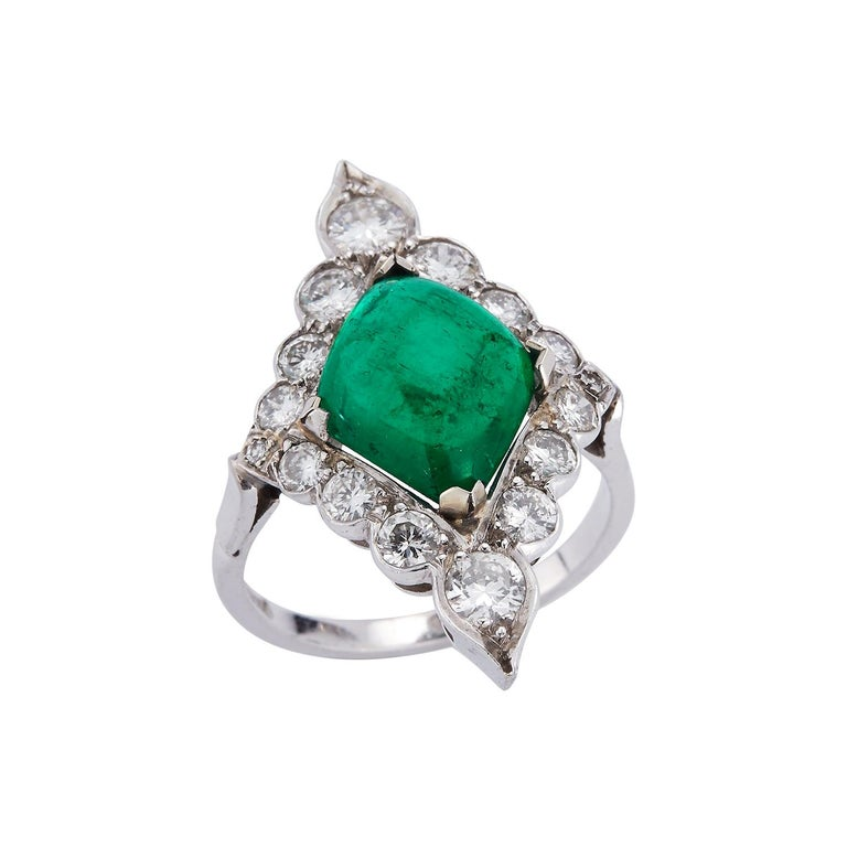 Certified Cabochon Colombian Emerald & Diamond Ring For Sale