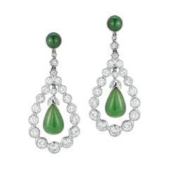 Certified Cabochon Jade & Diamond Dangle Earrings