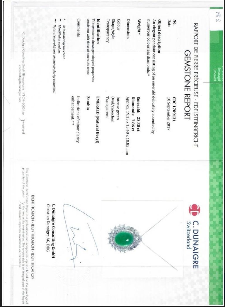 Certified Cabochon Zambian Emerald and Marquise Diamond Pendant In New Condition For Sale In Kowloon, HK