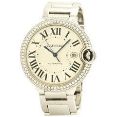 Certified Cartier Ballon Bleu WE9009Z3 18 Karat White Gold Men's Watch