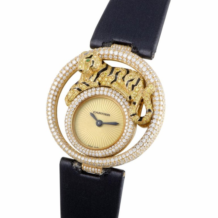 Cartier Le Cirque Reference #:WS000250. Cartier 18K YG DLE CIRQUE TIGER Diamond Bezel CS Quartz Steel (Boutique Exclusive). Verified and Certified by WatchFacts. 1 year warranty offered by WatchFacts.