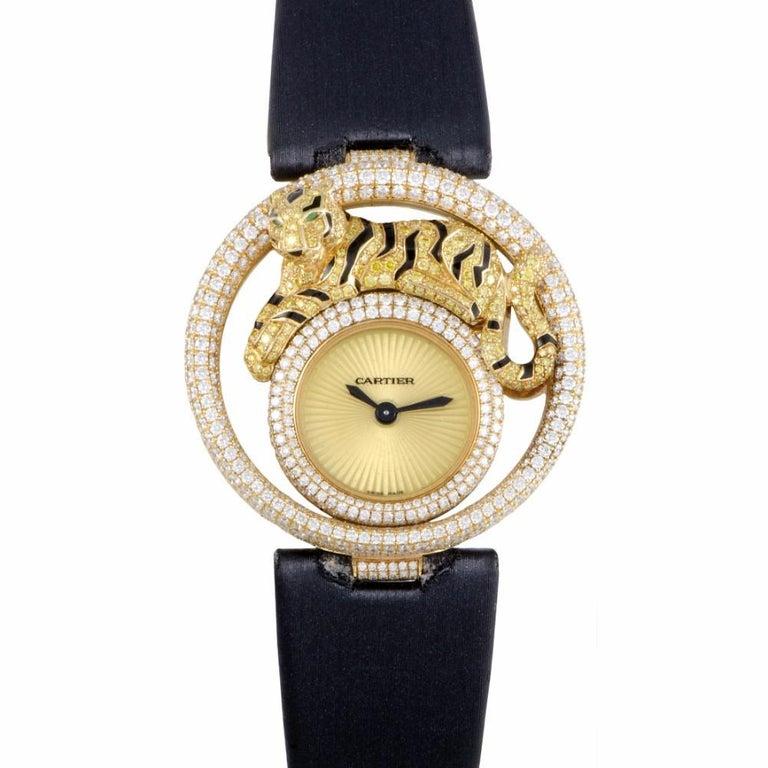Certified Cartier Cirque Tiger WS000250 yellow gold Watch