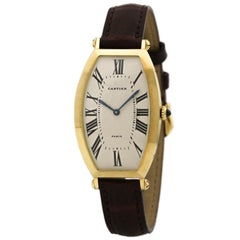 Certified Cartier Tonneau 18 Karat Yellow Gold Women's