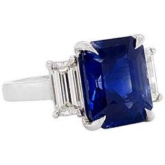 Certified Ceylon Sapphire 8.76 Carat Baguette Diamonds Platinum Ring