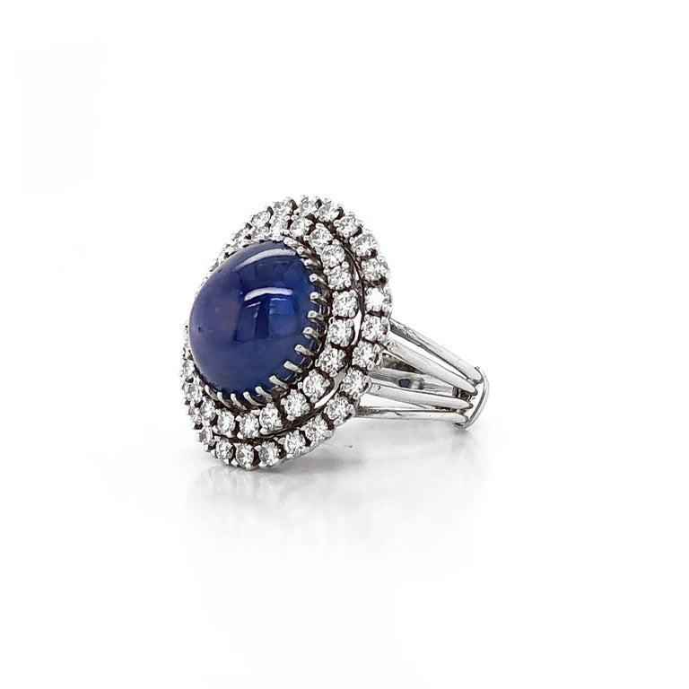Contemporary Certified Ceylon Cabochon Sapphire Round Diamond Platinum Cocktail Ring For Sale