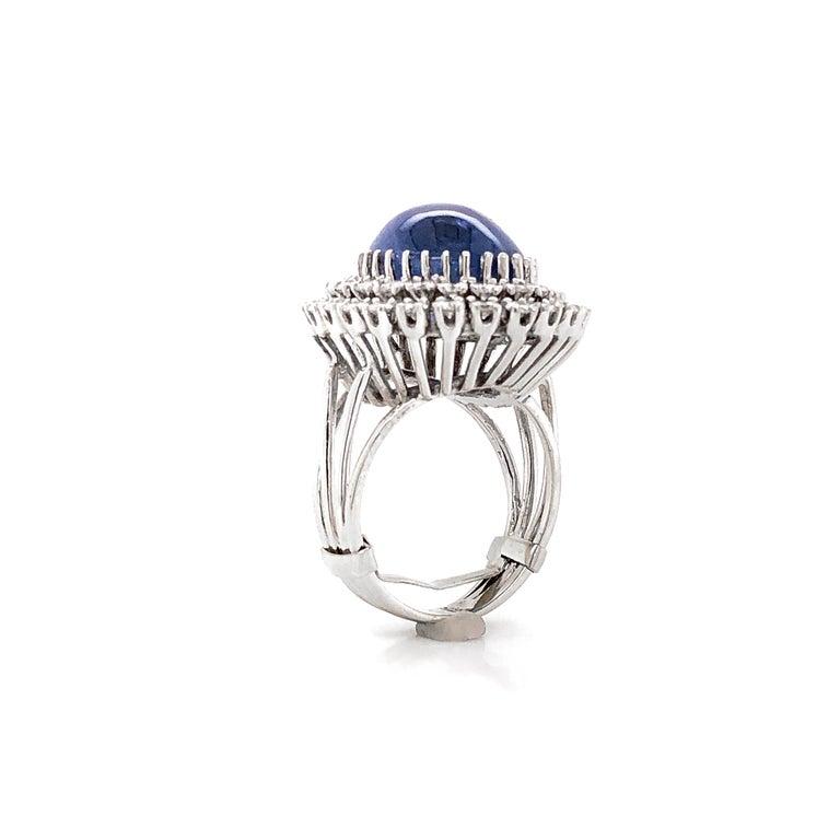 Certified Ceylon Cabochon Sapphire Round Diamond Platinum Cocktail Ring For Sale 1