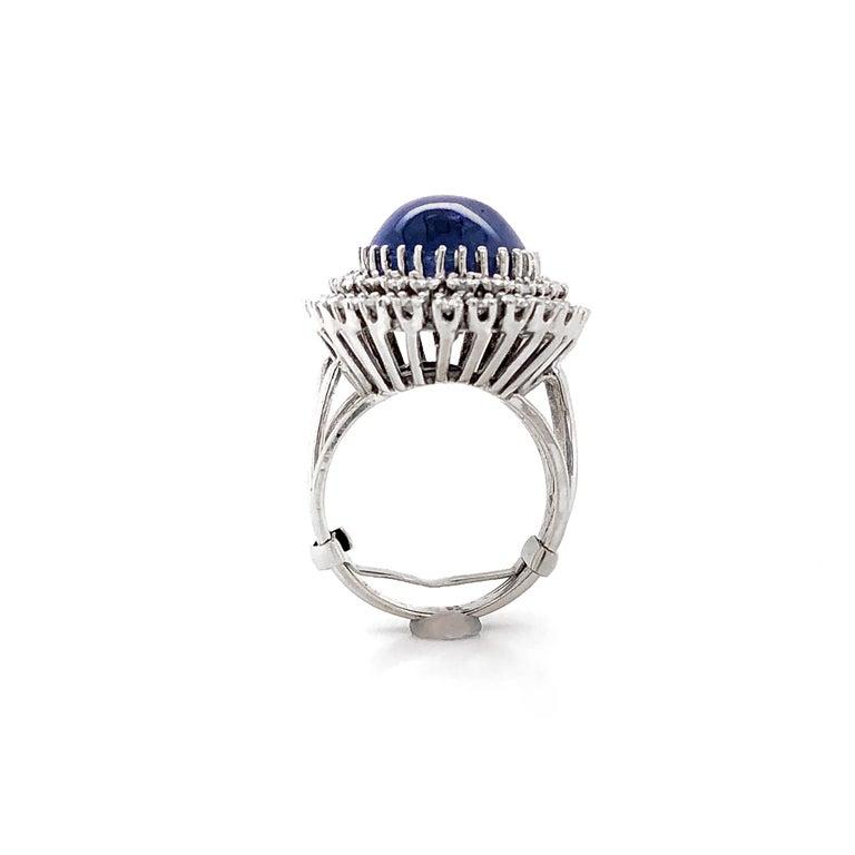 Certified Ceylon Cabochon Sapphire Round Diamond Platinum Cocktail Ring For Sale 2