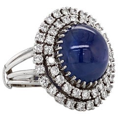 Certified Ceylon Cabochon Sapphire Round Diamond Platinum Cocktail Ring