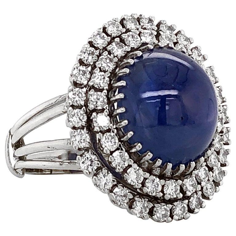 Certified Ceylon Cabochon Sapphire Round Diamond Platinum Cocktail Ring For Sale