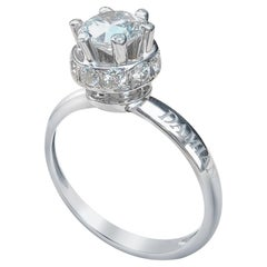 Certified Classical 1 Karat Round Diamond 18 Karat White Gold Engagement Ring