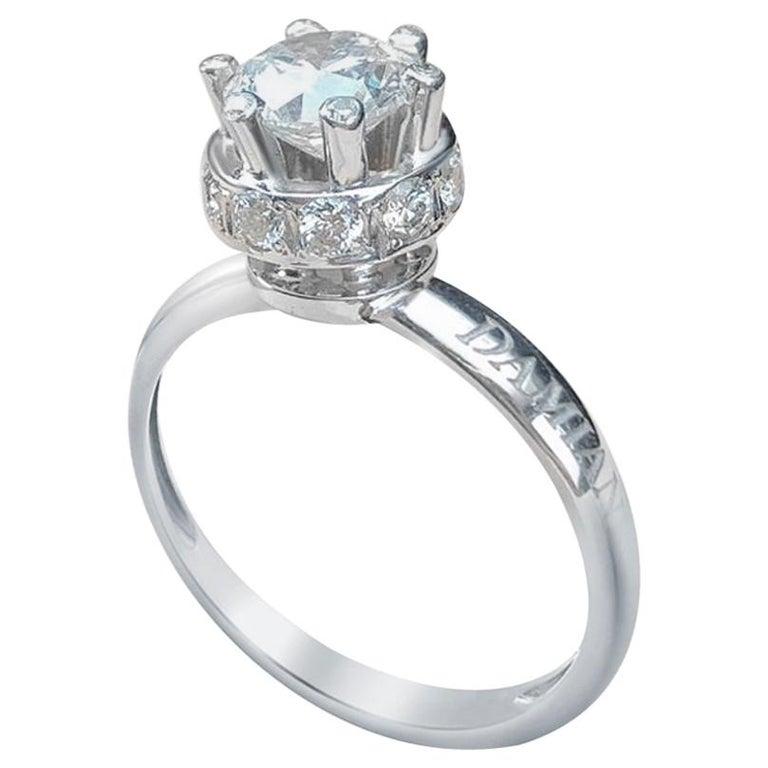 Certified Classical 1 Karat Round Diamond 18 Karat White Gold Engagement Ring For Sale