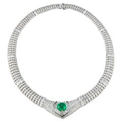 Certified Colombian Cabochon Emerald and Diamond Heart Shape Necklace