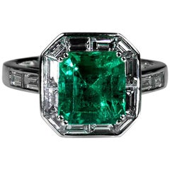Certified Colombian Emerald 3.11 Carat and Diamond Ring Art Deco Style Platinum