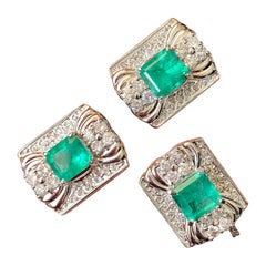 Certified Colombian Emerald and Diamond Cufflinks and Tie Tack in Platinum