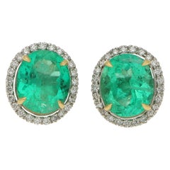 Certified Colombian Emerald and Diamond Halo Stud Earrings in 18 Karat Gold