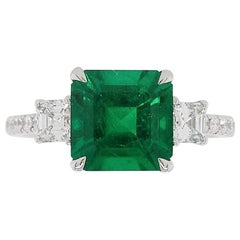 Certified Colombian Emerald and White Diamond in 18K Three-Stone Engagement Ring