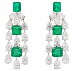 HYT Certified Colombian Emerald and White Diamond in 18 Karat Gold Drop Earrings
