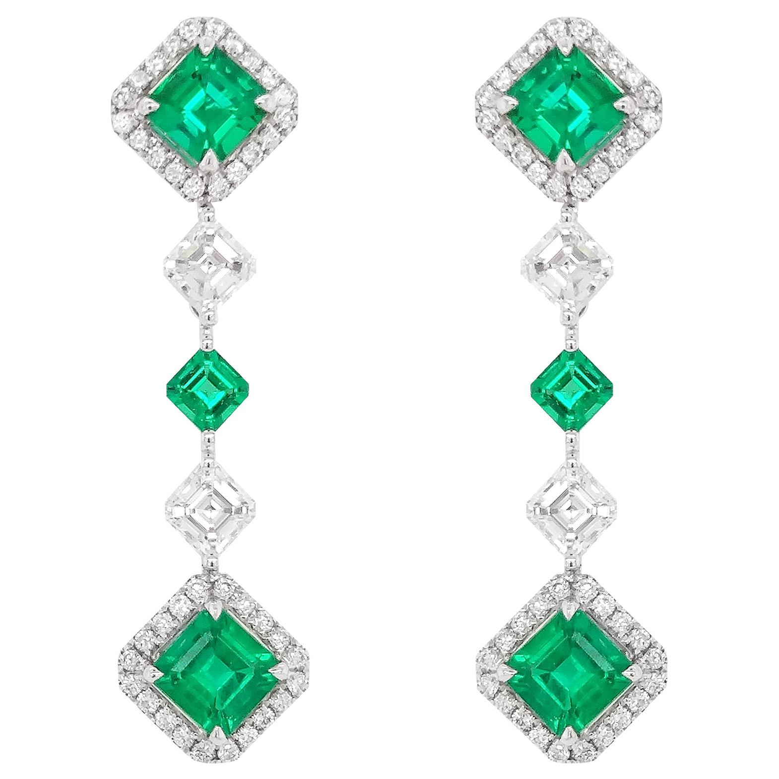 Certified Colombian Emerald and White Diamond 18K White Gold Drop Earrings