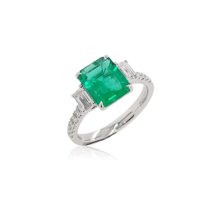 Emerald Cut Certified Colombian Emerald and White Diamond in Platinum Three-Stone Ring For Sale