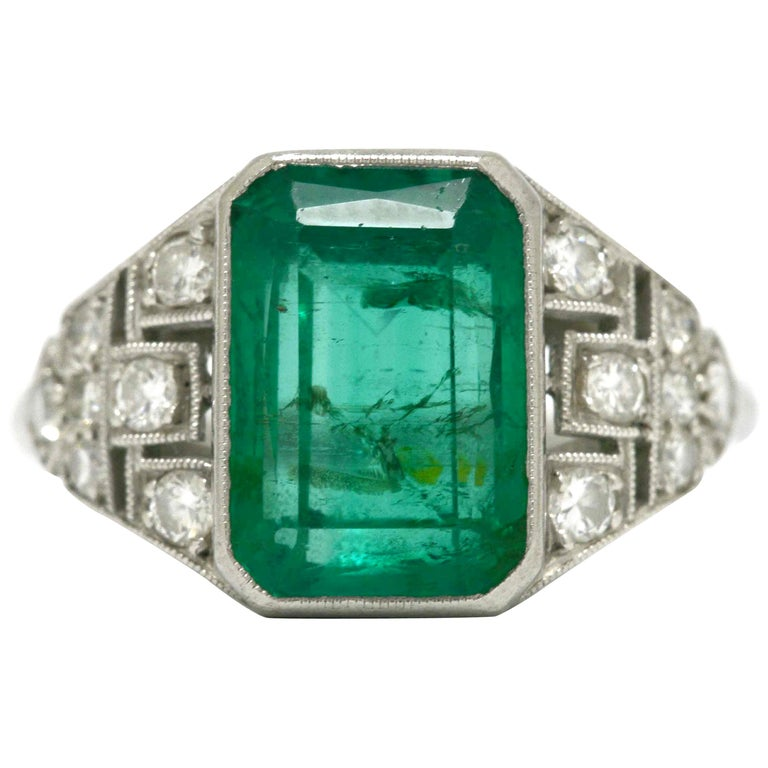 Certified Colombian Emerald Art Deco Engagement Ring Diamond Platinum 3 Carat For Sale
