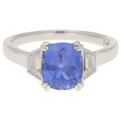 Certified Color-Change Sapphire and Diamond Three-Stone Engagement Ring