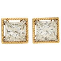 Certified Convertible Princess Cut Diamond Stud Earrings in White & Yellow Gold