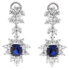 Certified Cushion Cut Ceylon Sapphires 8.38 Carat Chandelier Platinum Earrings