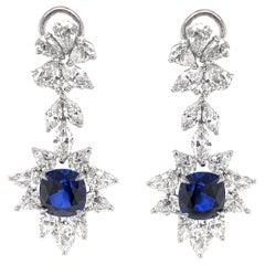 Certified Cushion Cut Ceylon Sapphires 8.38 Carat Diamond Chandelier Earrings