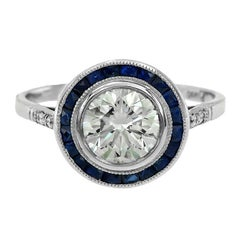 Certified Diamond 1.21 Carat Blue Sapphire Platinum Engagement Ring