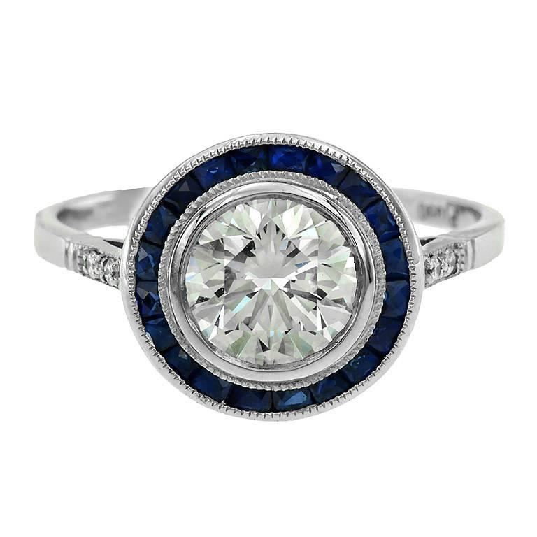 Certified Diamond 1.21 Carat Blue Sapphire Platinum Engagement Ring