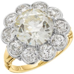 Certified Fancy Light Yellow Diamond 4.6ct Antique Old Cut Cluster Ring