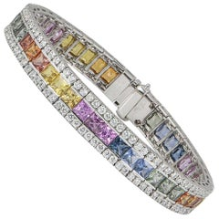 Certified Diamond and Multicolored Sapphire Bracelet