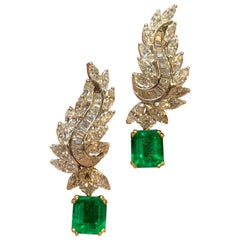 Certified Emerald and Diamond Day and Night Earrings