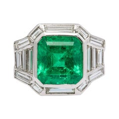 Certified Emerald and Diamond Italian Ring