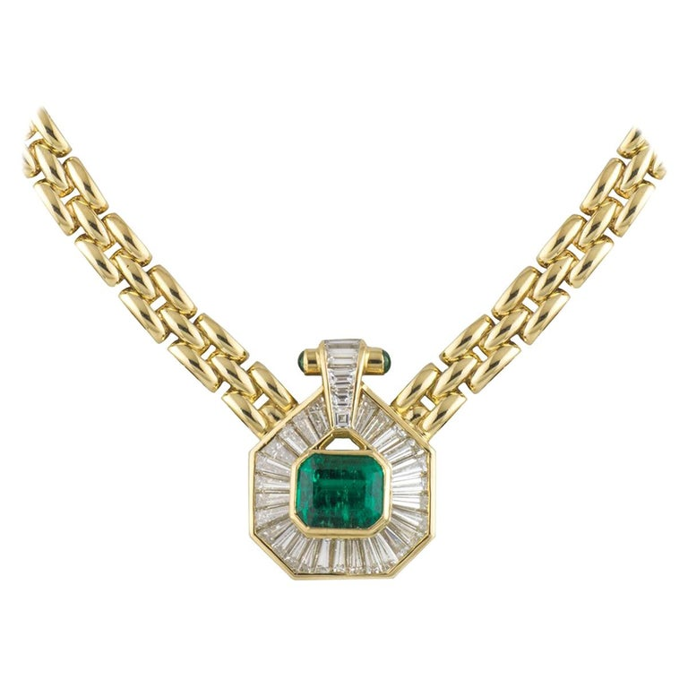 Certified Emerald and Diamond Necklace For Sale