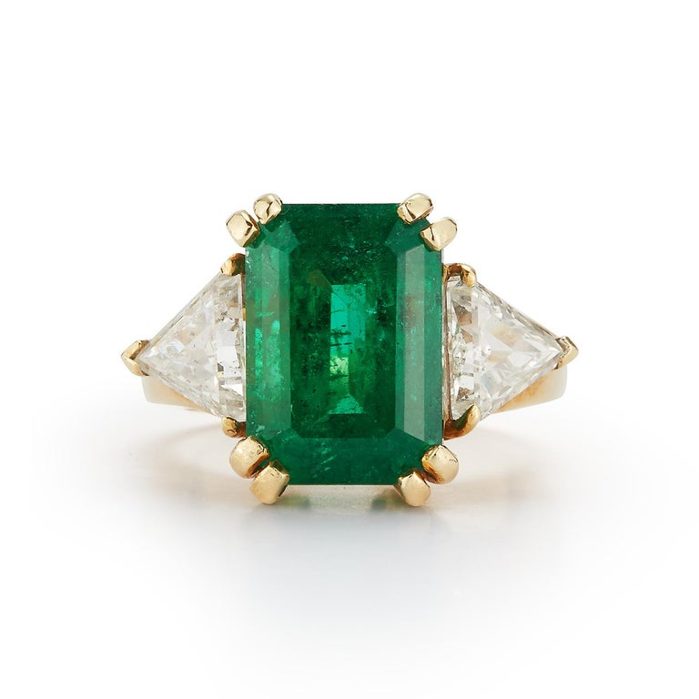Emerald Cut Certified Emerald and Diamond Three-Stone Ring For Sale