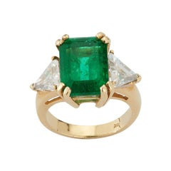 Certified Emerald and Diamond Three-Stone Ring