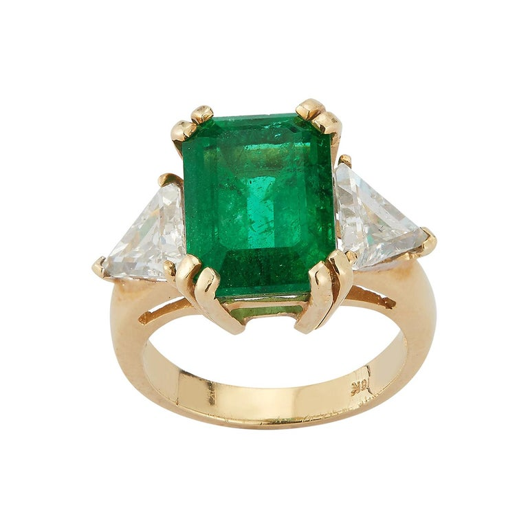 Certified Emerald and Diamond Three-Stone Ring For Sale
